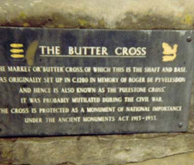 Plaque on base of Puleston Cross