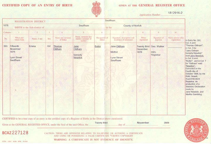 Emma Oldham/Newdick Birth Registration