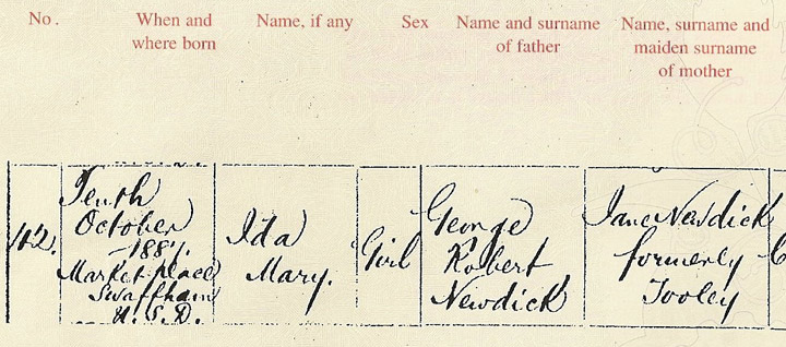 Ida's Birth Registration Left side