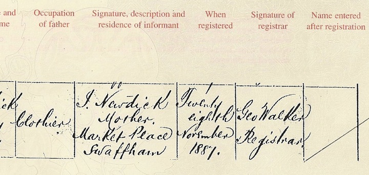 Ida's Birth Registration Right side.