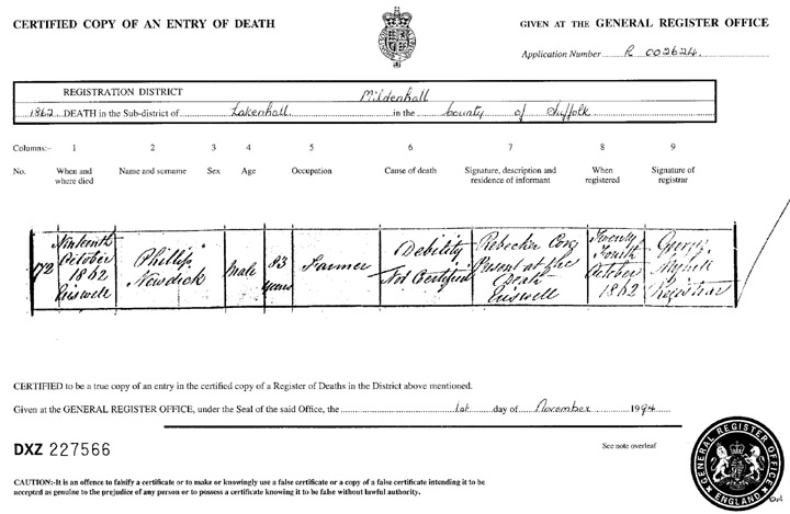 Philip Newdick's Death Registration