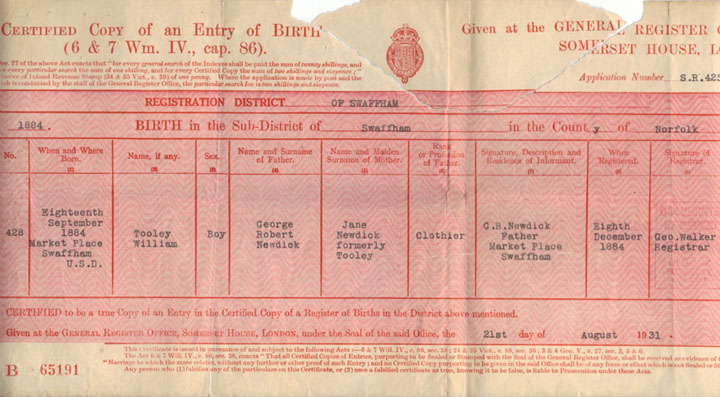 Tooley's birth registration