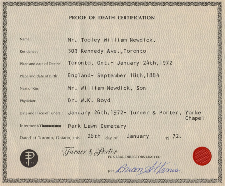 Tooley William Newdick death registration